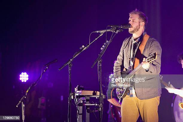 Justin Vernon of Bon Iver performs on stage at Manchester Apollo on October 19 2011 in Manchester United Kingdom