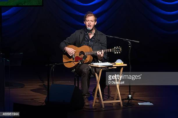 Justin Vernon of Bon Iver performs on stage during the United Nations 2014 Equator Prize Gala at Avery Fisher Hall Lincoln Center on September 22...
