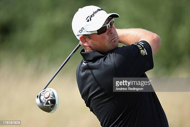 Justin Walters of South Africa in action during the final round of the ISPS Handa Wales Open on the Twenty Ten course at The Celtic Manor Resort on...