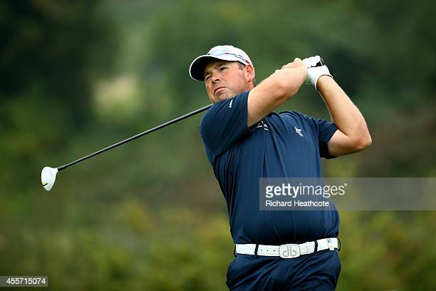 Justin Walters of South Africa in action during the second round of the ISPS Handa Wales Open at Celtic Manor Resort on September 19 2014 in Newport...