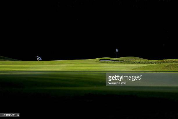 Justin Walters of South Africa lines up a putt during the third round of the UBS Hong Kong Open at The Hong Kong Golf Club on December 10, 2016 in...