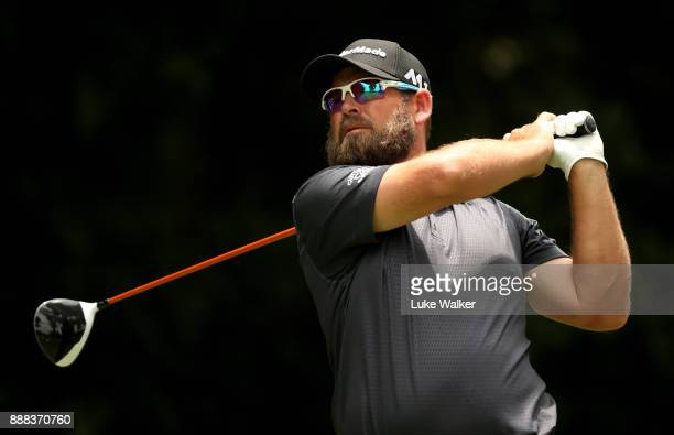 Justin Walters of South Africa plays a shot on the 18th hole during the second day of the Joburg Open at Randpark Golf Club on December 8 2017 in...