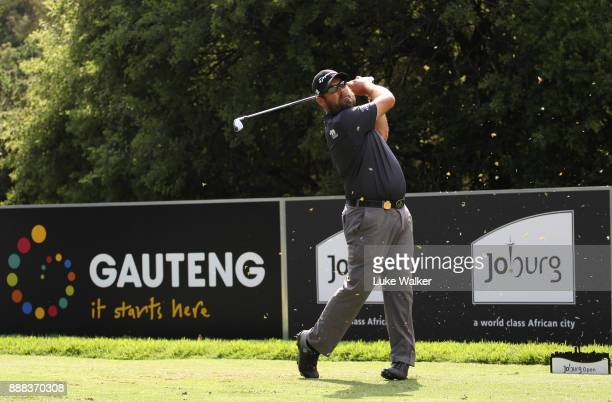Justin Walters of South Africa plays a shot on the 5th hole during the second day of the Joburg Open at Randpark Golf Club on December 8 2017 in...