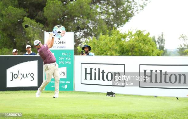 Justin Walters of South Africa tees off on the 4th hole during Day 2 of the South African Open at Randpark Golf Club on January 10, 2020 in...
