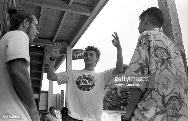 Justin Warfield and Tim Simenon of Bomb The Bass with director Alex Winter shooting a video Belize 1995