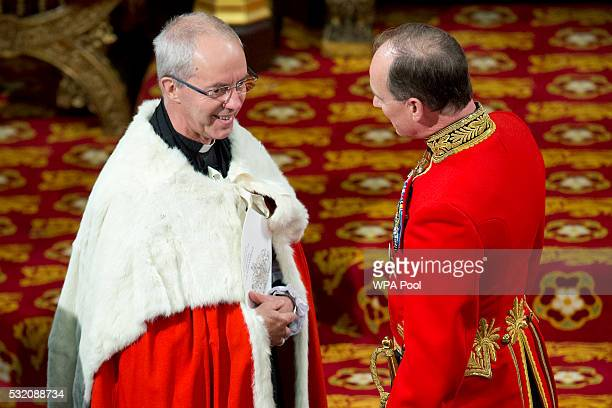 Justin Welby, Archbishop of Canterbury arrives to take his seat ahead of Queen Elizabeth II delivering the Queen's Speech from the throne as Prince...