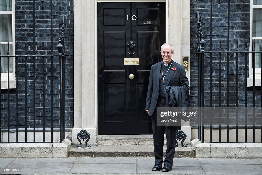 Justin Welby, Archbishop of Canterbury, poses for photographers as he arrives at 10 Downing Street on October 31, 2016 in London, England. The Archbishop of Canterbury recently urged the UK's financial watchdogs to 'practise what they preach' amid concern that regulation aimed at preventing another financial crisis is weakening.