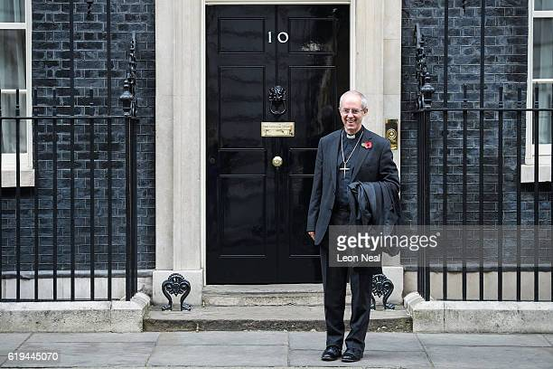 Justin Welby Archbishop of Canterbury poses for photographers as he arrives at 10 Downing Street on October 31 2016 in London England The Archbishop...