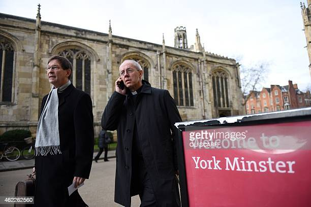 Justin Welby the Archbishop of Canterbury arrives at York Minster in York northern England on January 26 as the Reverend Libby Lane is consecrated as...