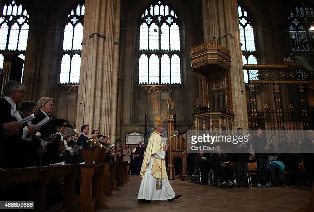 Justin Welby the Archbishop of Canterbury arrives to deliver his Easter sermon on April 5 2015 in Canterbury England During his traditional message...
