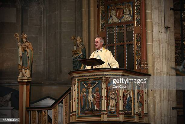 Justin Welby, the Archbishop of Canterbury, delivers his Easter sermon on April 5, 2015 in Canterbury, England. During his traditional message, the...