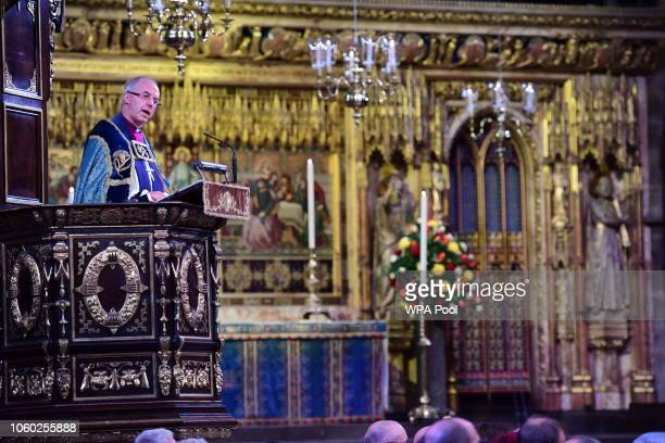 Justin Welby, The Archbishop of Canterbury gives a speech as he attends a service marking the centenary of WW1 armistice at Westminster Abbey on...