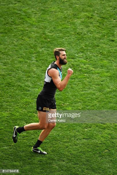 Justin Westhoff of the Power celebrates after kicking a goal during the round 17 AFL match between the Port Adelaide Power and the North Melbourne...