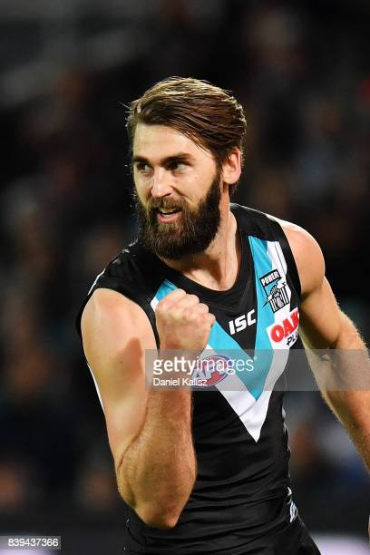 Justin Westhoff of the Power celebrates after kicking a goal during the round 23 AFL match between the Port Adelaide Power and the Gold Coast Suns at...