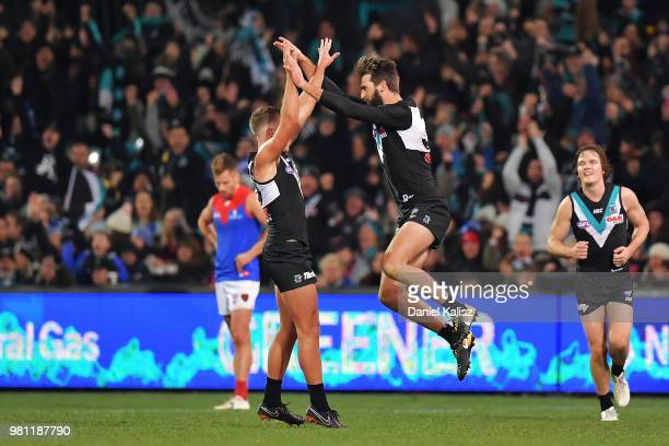 Justin Westhoff of the Power celebrates after kicking a goal during the round 14 AFL match between the Port Adelaide Power and the Melbourne Demons...