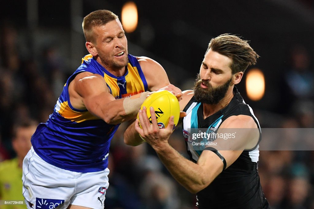 Justin Westhoff of the Power competes for the ball with Drew Petrie of the Eagles during the AFL First Elimination Final match between Port Adelaide Power and West Coast Eagles at Adelaide Oval on September 9, 2017 in Adelaide, Australia.