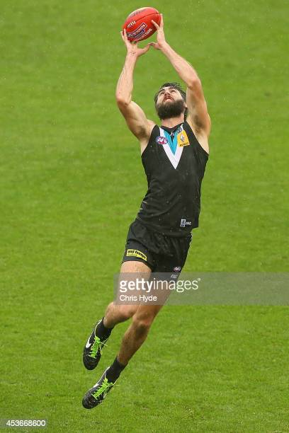 Justin Westhoff of the Power takes a mark during the round 21 AFL match between the Gold Coast Suns and the Port Adelaide Power at Metricon Stadium...
