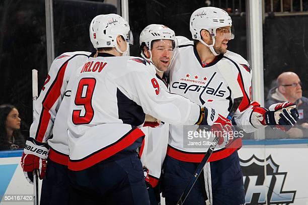 Justin Williams Alex Ovechkin Dmitry Orlov and Evgeny Kuznetsov of the Washington Capitals celebrate after a second period goal against the New York...