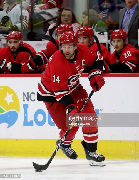 Justin Williams of the Carolina Hurricanes carries the puck during an NHL game against the Chicago Blackhawks on November 12, 2018 at PNC Arena in...