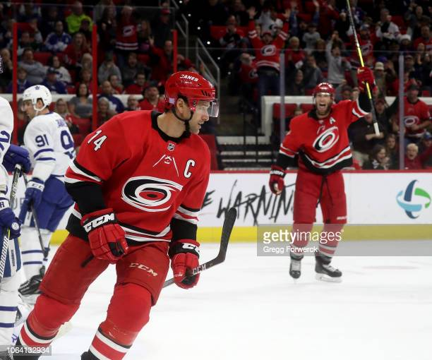 Justin Williams of the Carolina Hurricanes celebrates after scoring a goal during an NHL game against the Toronto Maple Leafs on November 21 2018 at...