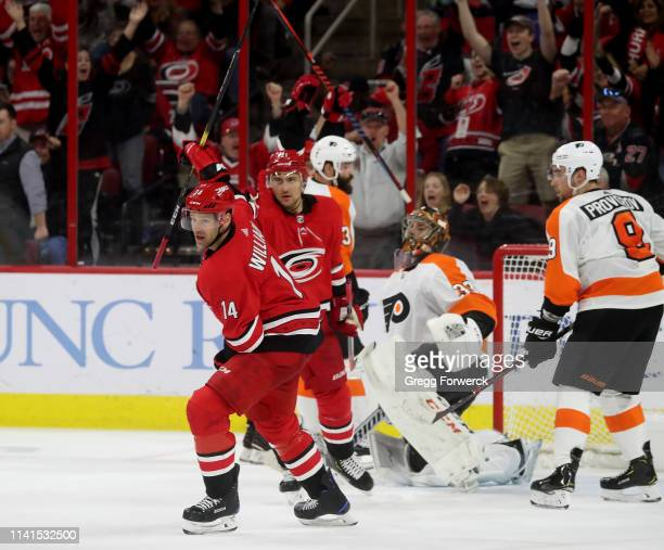 Justin Williams of the Carolina Hurricanes celebrates an insurance goal in the 3rd period during an NHL game against the Philadelphia Flyers on March...