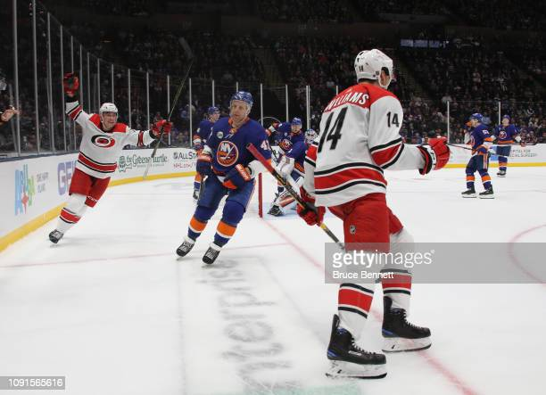 Justin Williams of the Carolina Hurricanes celebrates his goal at 1718 of the third period against the New York Islanders at NYCB Live at the Nassau...