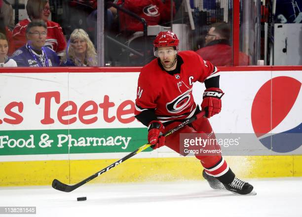 Justin Williams of the Carolina Hurricanes controls the puck on the ice during an NHL game against the Tampa Bay Lightning on March 21, 2019 at PNC...