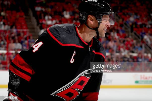 Justin Williams of the Carolina Hurricanes disputes a call on the ice duriing an NHL game against the New York Rangers on October 7, 2018 at PNC...