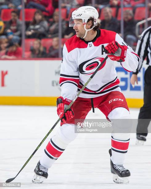 Justin Williams of the Carolina Hurricanes follows the play against the Detroit Red Wings during an NHL game at Little Caesars Arena on February 24...