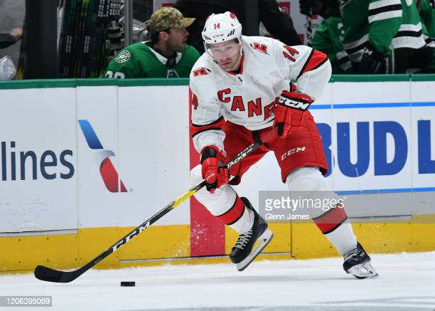 Justin Williams of the Carolina Hurricanes handles the puck against the Dallas Stars at the American Airlines Center on February 11, 2020 in Dallas,...