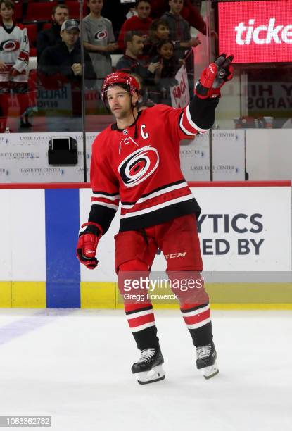 Justin Williams of the Carolina Hurricanes is recognized as first star of the game during an NHL game against the New Jersey Devils on November 18,...