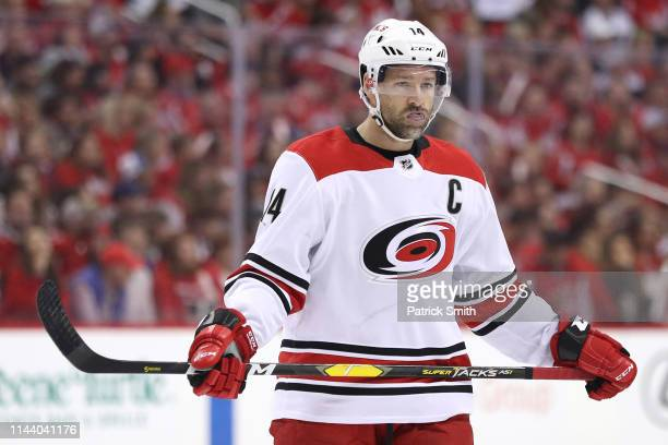 Justin Williams of the Carolina Hurricanes looks on against the Washington Capitals in the first period in Game Five of the Eastern Conference First...