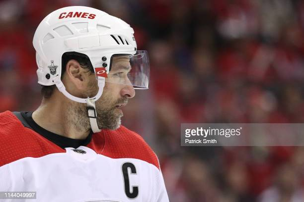 Justin Williams of the Carolina Hurricanes looks on against the Washington Capitals in the second period in Game Five of the Eastern Conference First...