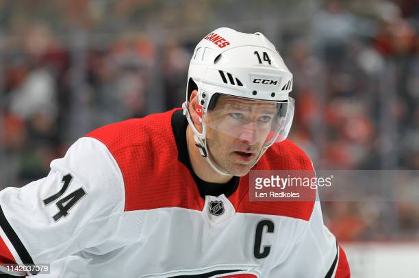 Justin Williams of the Carolina Hurricanes looks on against the Philadelphia Flyers on April 6, 2019 at the Wells Fargo Center in Philadelphia,...