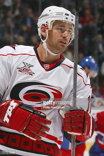 Justin Williams of the Carolina Hurricanes looks on against the Montreal Canadiens on October 13 2007 at the Bell Centre in Montreal Quebec The...