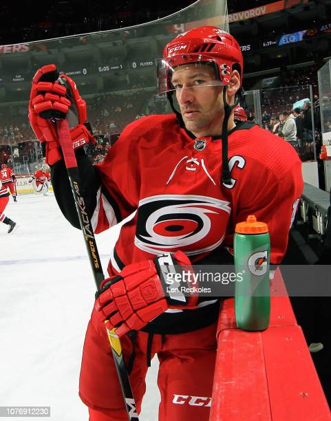 Justin Williams of the Carolina Hurricanes looks on during warmups prior to his game against the Philadelphia Flyers on January 3, 2019 at the Wells...