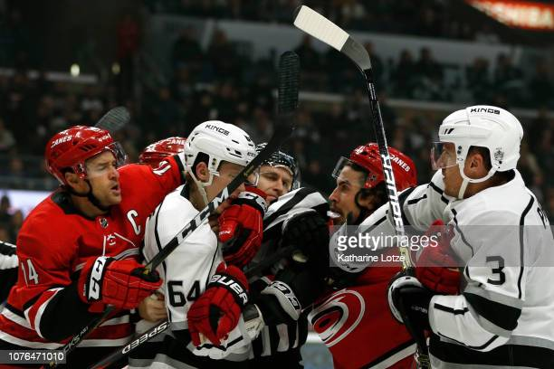 Justin Williams of the Carolina Hurricanes, Matt Luff of the Los Angeles Kings, Dion Phaneuf of the Los Angeles Kings and Justin Faulk of the...