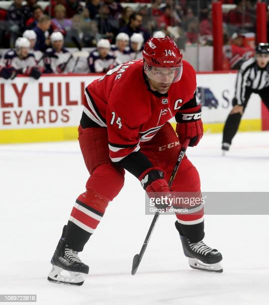 Justin Williams of the Carolina Hurricanes prepares for a faceoff during an NHL game against the Columbus Blue Jackets on November 17 2018 at PNC...