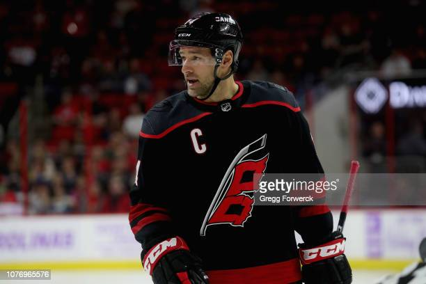 Justin Williams of the Carolina Hurricanes prepares for a faceoff against the Anaheim Ducks during an NHL game on November 30, 2018 at PNC Arena in...