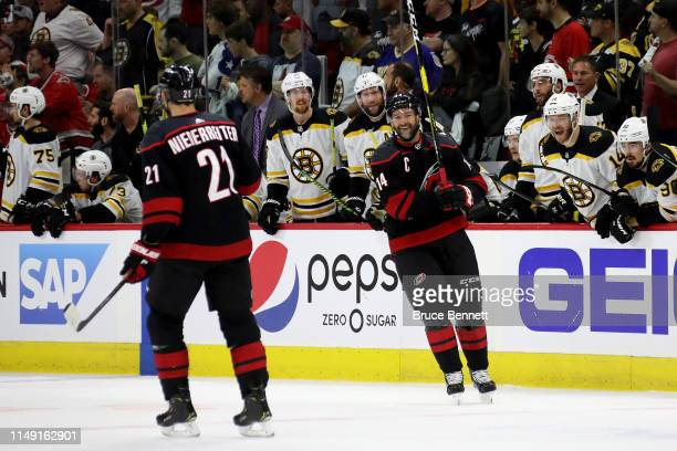 Justin Williams of the Carolina Hurricanes reacts after his second penalty against the Boston Bruins during the first period in Game Three of the...