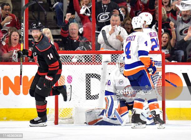 Justin Williams of the Carolina Hurricanes reacts after scoring the go-ahead goal against the New York Islanders during the third period of Game...