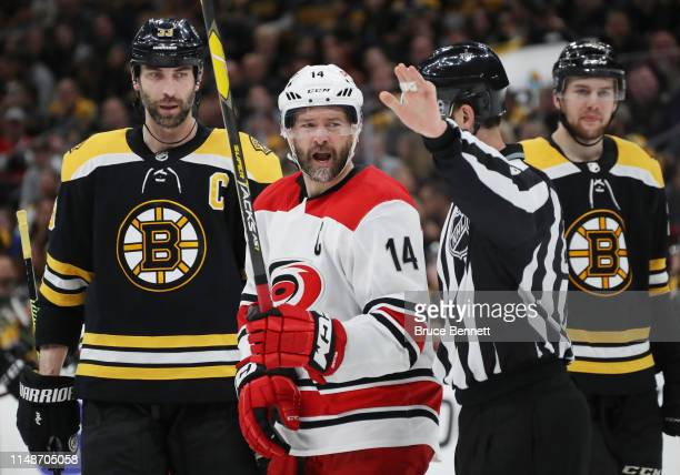 Justin Williams of the Carolina Hurricanes reacts during the second period against the Boston Bruins in Game Two of the Eastern Conference Final...