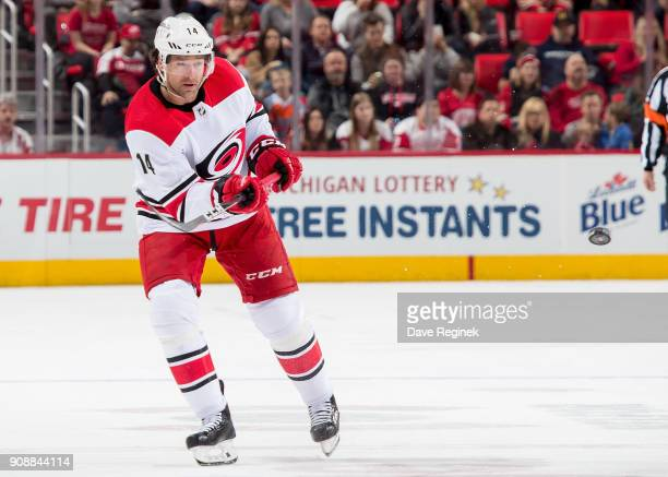 Justin Williams of the Carolina Hurricanes shoots the puck against the Detroit Red Wings during an NHL game at Little Caesars Arena on January 20...