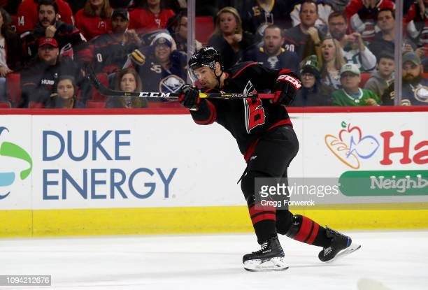 Justin Williams of the Carolina Hurricanes shoots the puck during an NHL game against the Buffalo Sabres on January 11 ,2019 at PNC Arena in Raleigh,...