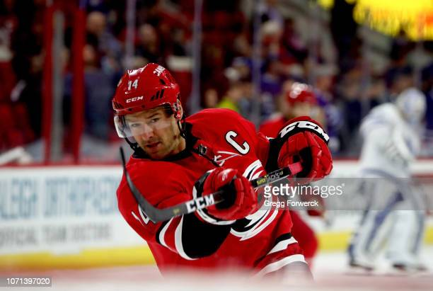 Justin Williams of the Carolina Hurricanes shoots the puck during warmups prior to an NHL game against the Toronto Maple Leafs on November 21 2018 at...