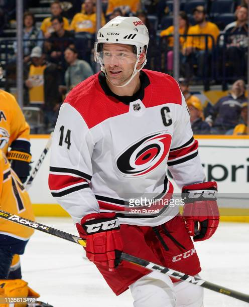 Justin Williams of the Carolina Hurricanes skates against the Nashville Predators at Bridgestone Arena on March 9 2019 in Nashville Tennessee