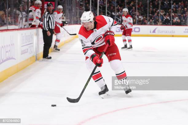 Justin Williams of the Carolina Hurricanes skates against the Colorado Avalanche at the Pepsi Center on November 2 2017 in Denver Colorado The...