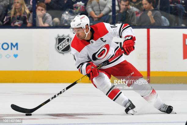 Justin Williams of the Carolina Hurricanes skates against the Columbus Blue Jackets on October 5, 2018 at Nationwide Arena in Columbus, Ohio.