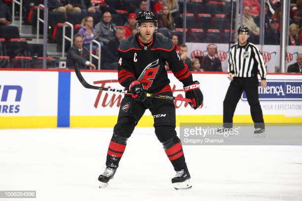 Justin Williams of the Carolina Hurricanes skates against the Detroit Red Wings at Little Caesars Arena on October 22 2018 in Detroit Michigan