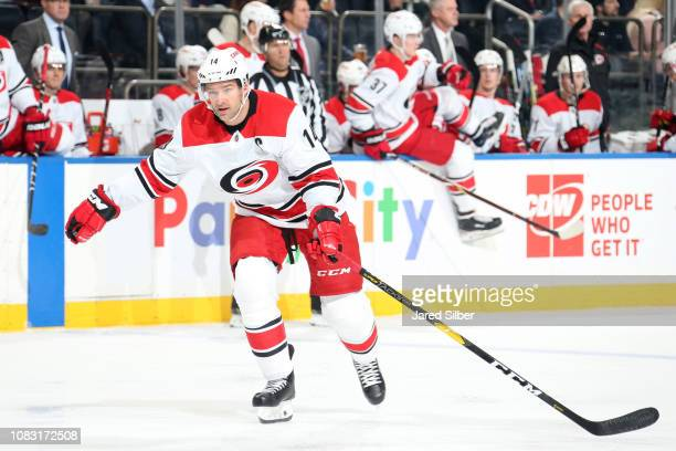 Justin Williams of the Carolina Hurricanes skates against the New York Rangers at Madison Square Garden on January 15 2019 in New York City